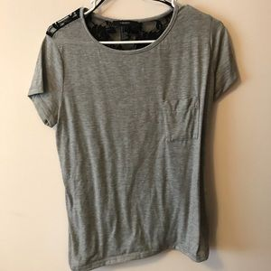 Forever 21 Lace Black Back Grey Tee